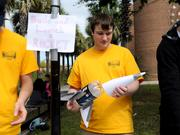 Joey Lanyi builds a rocket out of a soda bottle and paper. It may not reach the International Space Station, but you can't beat the budget on this project.