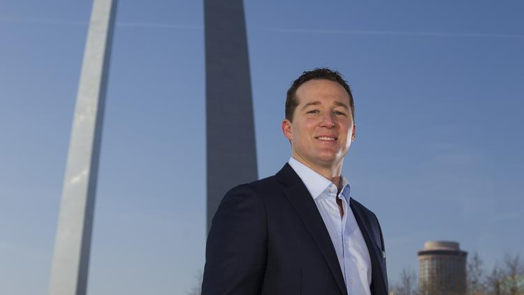 40 Under 40 Grant Mechlin photographed at the Gateway Arch