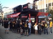 The Budweiser bar had to be restocked five times even before the game began.