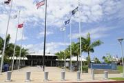 The entrance to the USS Arizona Memorial at the World War II Valor in the Pacific National Monument at Pearl Harbor was deserted Tuesday after the federal government shutdown forced the closure of the nation's national parks.