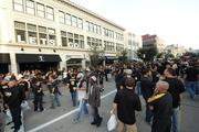 The scene on Federal Street on Tuesday afternoon before the game. It had been closed since 10 a.m.