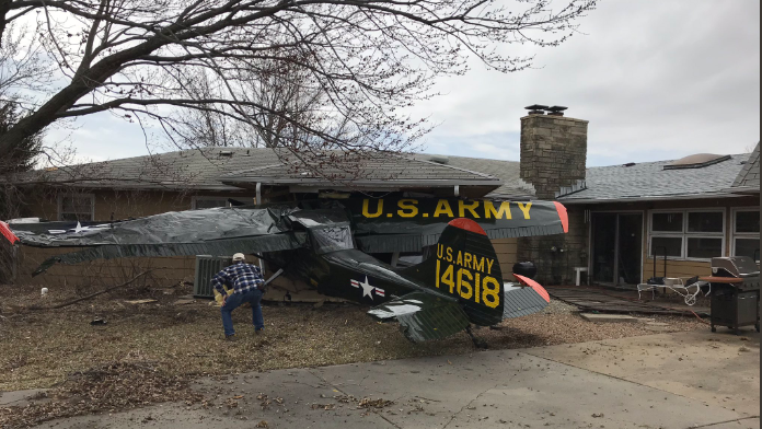Small planes crashes into home near Stearman Field, no serious ... on plane crash into home, chicago plane crashes into home, private plane crashes into home, miami car crashes into home, colorado plane crashes into home, small plane going down,