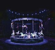 Odysseo features a huge carousel that lifts up and down providing a vehicle for acrobats and aerialists.