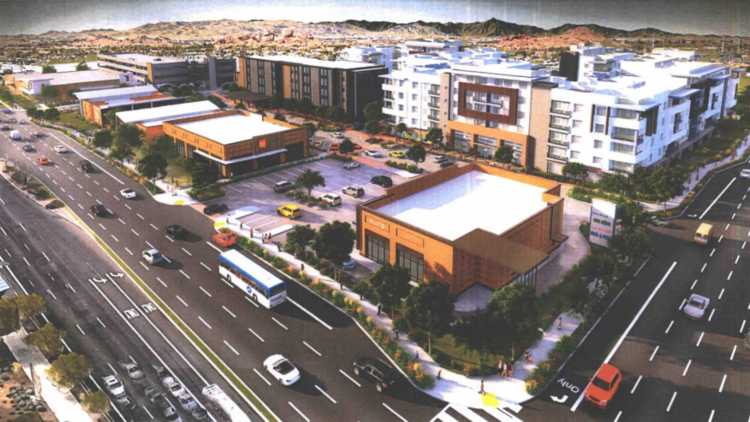 An artist's rendering shows preliminary plans for Papago Marketplace, which will begin construction this summer.