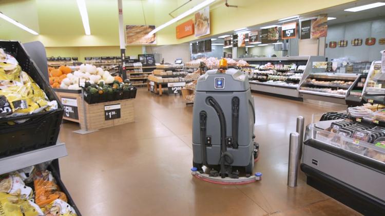 Walmart uses the autonomous floor scrubber to clean concrete floors in its stores.