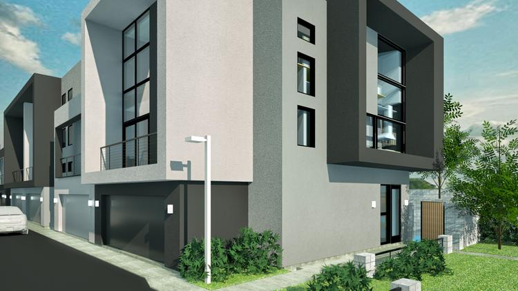 A rendering of Caliber's Roosevelt Townhome Community in downtown Tempe.