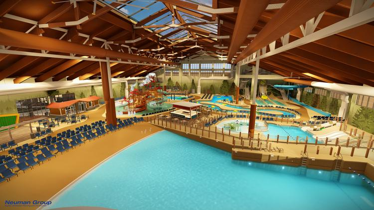 Rendering of the 85,000-square-foot indoor water park inside the Great Wolf Lodge Arizona.