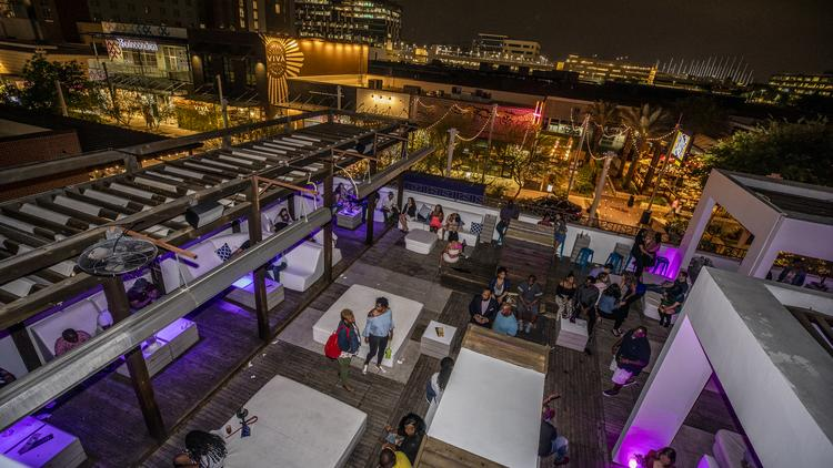 Domain Northside has brought dozens of bars and restaurants as well as more offices and apartments to North Austin. Pictured is a Friday night in April at 77 Degrees Rooftop Bar. Click through for more recent images from the mixed-use district.