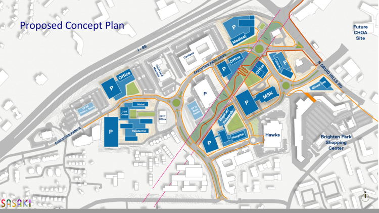 """Site plan of Emory's planned """"health innovation district"""" at Interstate 85 and North Druid Hills Road in Brookhaven."""