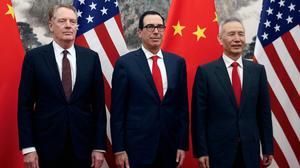 From left, U.S. Trade Representative Robert Lighthizer, U.S. Treasury Secretary Steven Mnuchin and Vice Premier Liu He of China meet in Baijing on May 1, 2019. Lighthizer has said President Donald Trump has told him to start preparations to impose tariffs on the roughly $300 billion in Chinese goods that are currently not subject to the duties. (Andy Wong/Pool via The New York Times)