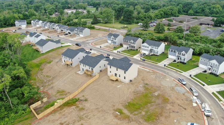An aerial view of the new residential neighborhood.