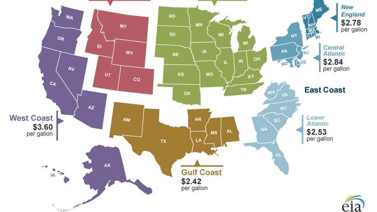 Hawaii And West Coast Gas Prices Among Highest In Us Pacific - Gas-prices-us-map
