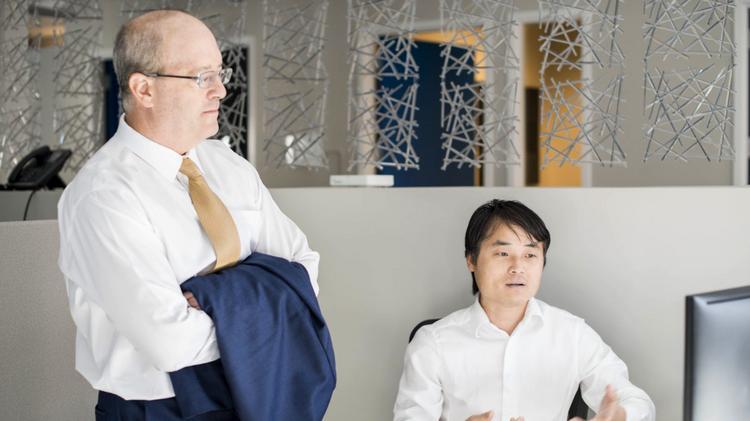 Infinia ML's chief scientist and Duke professor Larry Carin and data scientist, Jun Liu.