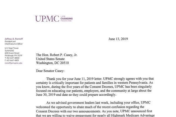 UPMC, Highmark respond to Sen  Bob Casey's letter - Pittsburgh
