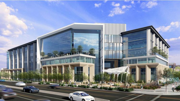 An artist's rendering shows SkySong 6, the sixth office building planned in the ASU Scottsdale Innovation Center.