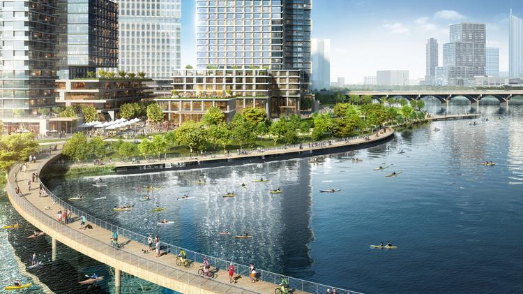 Plans for redeveloping the Austin American-Statesman HQ call for 3.5 million square feet of new development. There could be a new pedestrian bridge over Lady Bird Lake.