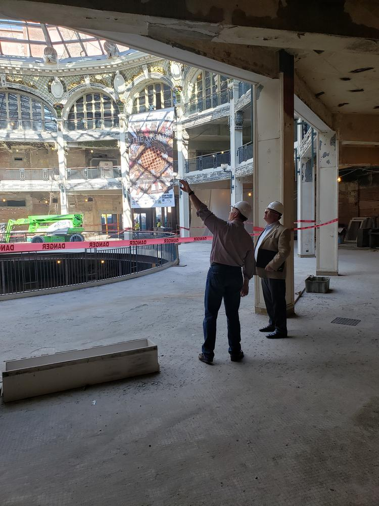 ConsumerOptix automates and personalizes consumer insurance acquisition, and will move into the Innovation Center at the Arcade in 2020. Pictured above is James O'Hara and Dave Wiliams, senior development director at Cross Street Partners.