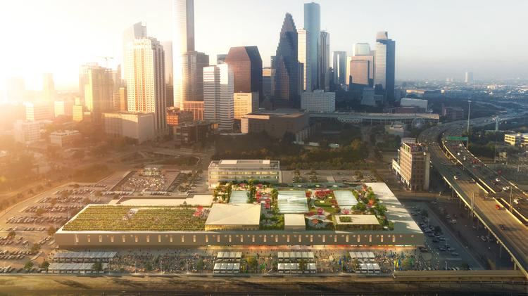 An aerial view of what the former Barbara Jordan Post Office building will look like following its conversion into a multi-use development.