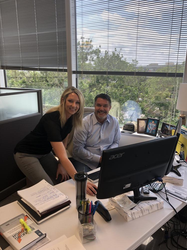 "Stephanie Breslin, senior recruiter, was instrumental in securing the largest account in Broadstaff history. She and Mike Day, EVP of Production, are hitting ""send"" on the infamous confirmation email!"