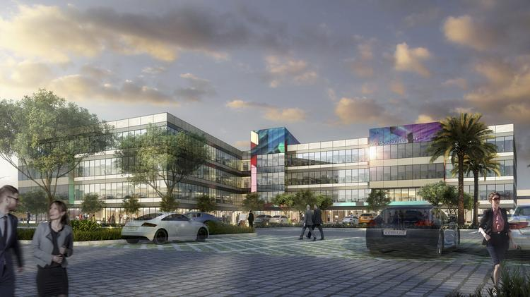 An artist's rendering shows the first office building planned at the Union in Mesa. WageWorks' lease at the Union was the third quarter's largest lease transaction in the Valley.