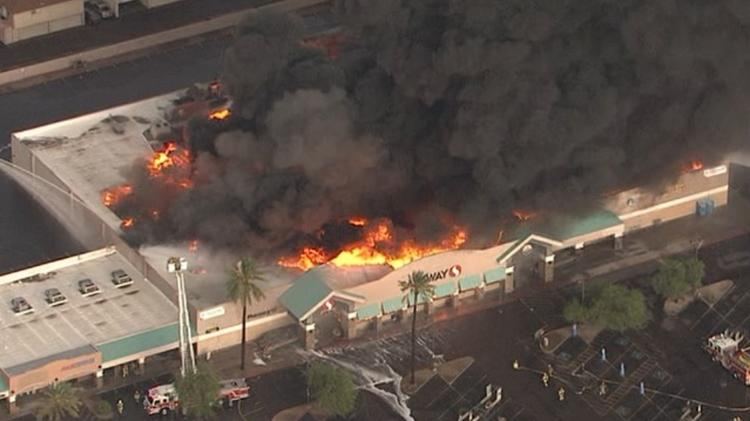 The Safeway on the corner of Northern and 35th avenues in Phoenix burns in July 2018.