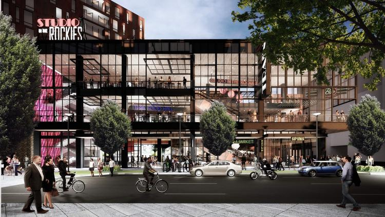 "A rendering of a restaurant and shopping component of Train Denver called ""Studio in the Rockies."""