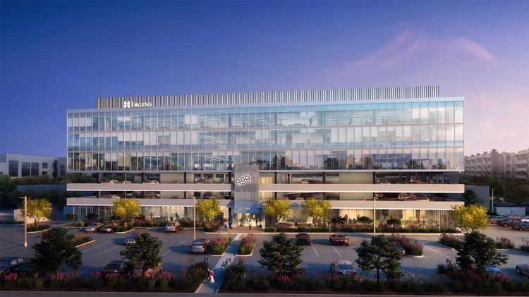 An artist's rendering shows the planned 999 Playa building near Tempe Town Lake.