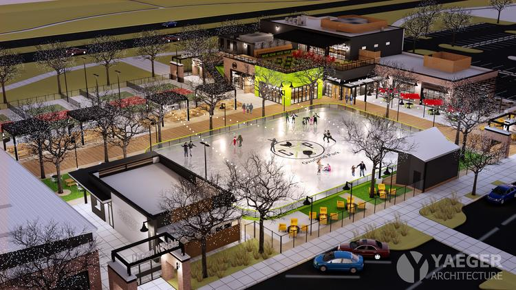 Pictured is a rendering of Chicken N Pickle's Overland Park location, which is slated to open in the fall of 2020 inside mixed-use development Prairiefire.