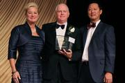 PNC's Kay Geiger with honoree UC trustee C. Francis Barrett and UC President Santa Ono.