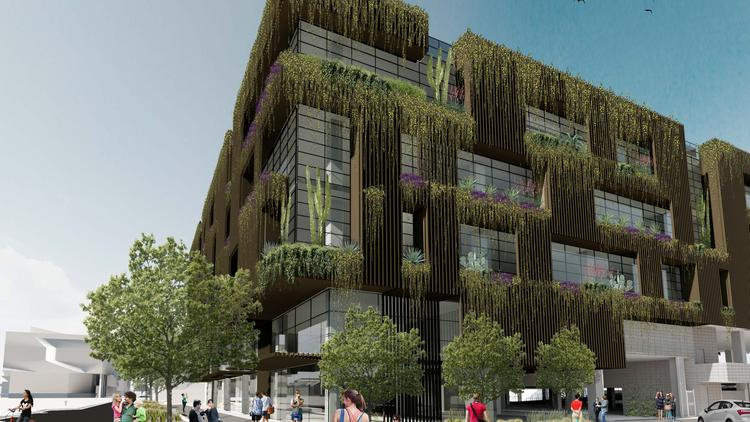 An artist's rendering shows the First and Farmer building, which will feature landscaping and native plants on the ground level and incorporated throughout the exterior of the building.