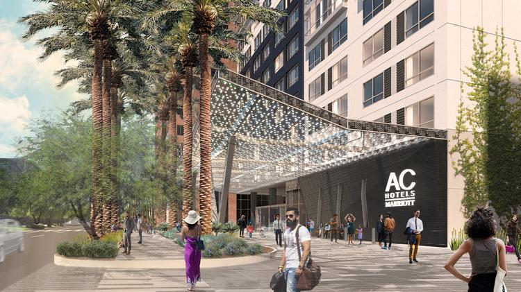 An artist's rendering shows the AC Hotel by Marriott under construction in downtown Phoenix.
