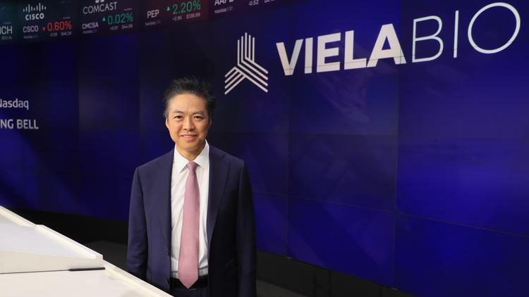 Viela Bio CEO Bing Yao, pictured here on the company's IPO day at the Nasdaq.