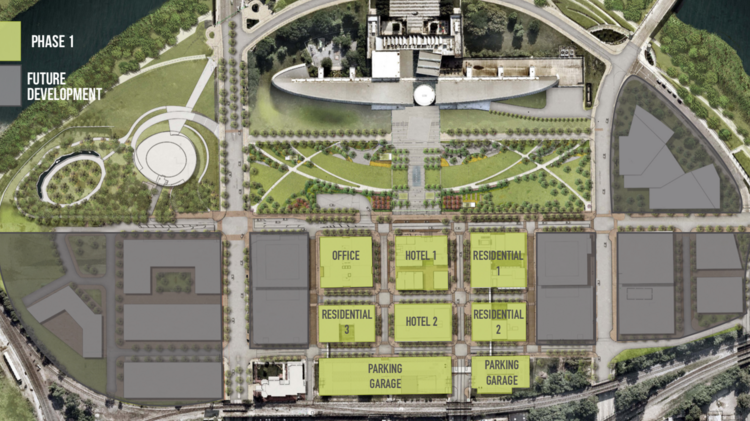 The first phase of the development will build the center of the 21-acre site with future phases to follow around it.