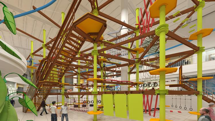 Pictured is a rendering of Independence Center's new entertainment concept: District Jungle: Eat & Play.