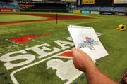 Tampa Bay Rays groundskeeper Jason Hess studies the MLB logo before the next step.
