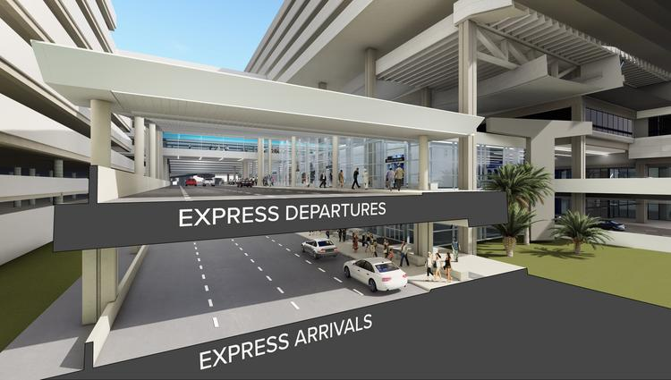 The express curbs for arrivals and departures