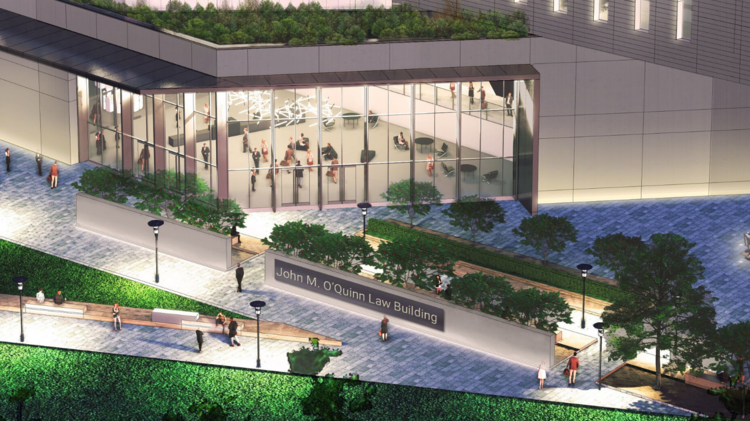 A rendering of details of the new Law Center.