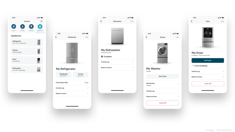 Homebase has formed a partnership with LG Electronics USA to roll out a smart apartment program. As part of the program, residents can use the Homebase app to monitor LG appliances such as the refrigerator and washer.