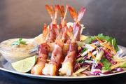 Menu items include gulf shrimp from the grill.