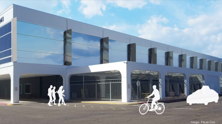 An artist's rendering shows the renovated Burgbacher building at Park Central Mall.