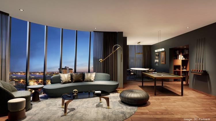 This rendering shows how a suite in the Thompson Hotel could look.