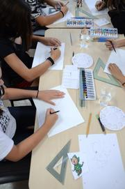 A bustle of activity is the most common form of animated art in this classroom.