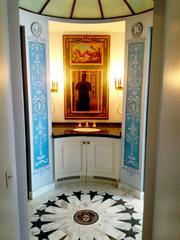 Example of the amazing decor at the mansion, a sink area.