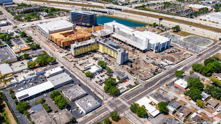 Aerial photo shows Midtown construction on April 1.