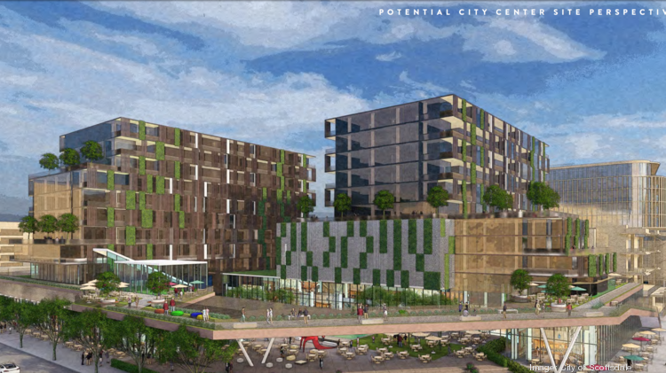 An artist's rendering shows a potential redevelopment plan for the City Center in Scottsdale.