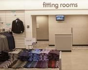 The fitting rooms at the new Nordstrom Rack are shown here.