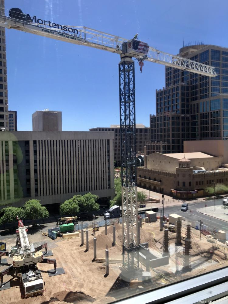 The tower crane is up at the construction site for the Hyatt Place in downtown Phoenix. The projects is expected to be finished in September 2021.
