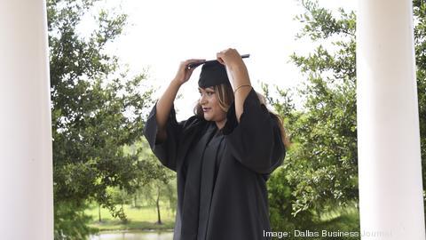 Elizeth Diaz graduates from Dallas Baptist University, (background) in August.