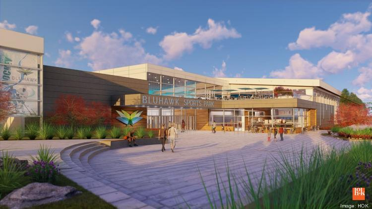 This rendering depicts the opening to Bluhawk Sports Park, which currently is planned to include a 309,000-square-foot indoor multisport complex and a 120,000-square-foot arena with 3,500 seats.