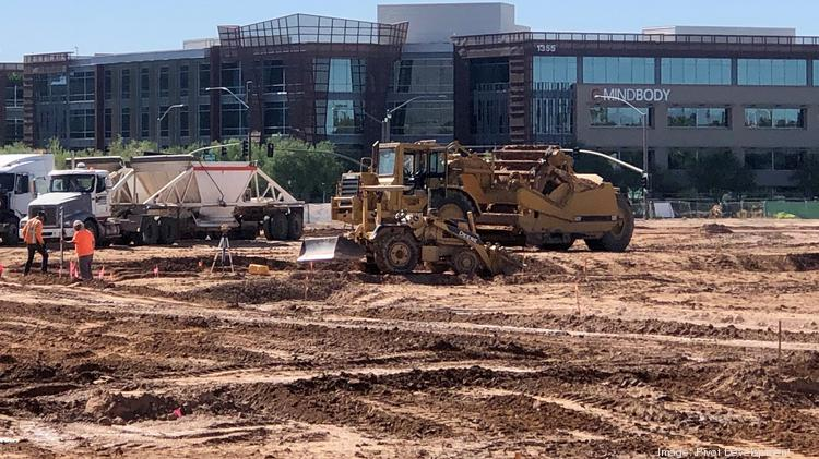 Final grading has begun at Papago Plaza for utility installation at the south Scottsdale redevelopment project.